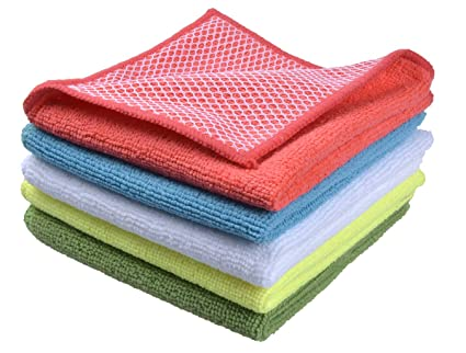 446e1739fd1e3 Image Unavailable. Image not available for. Color  Sinland 5 color Assorted  Microfiber Dish Cloth Best Kitchen Cloths Cleaning Cloths With Poly Scour  Side