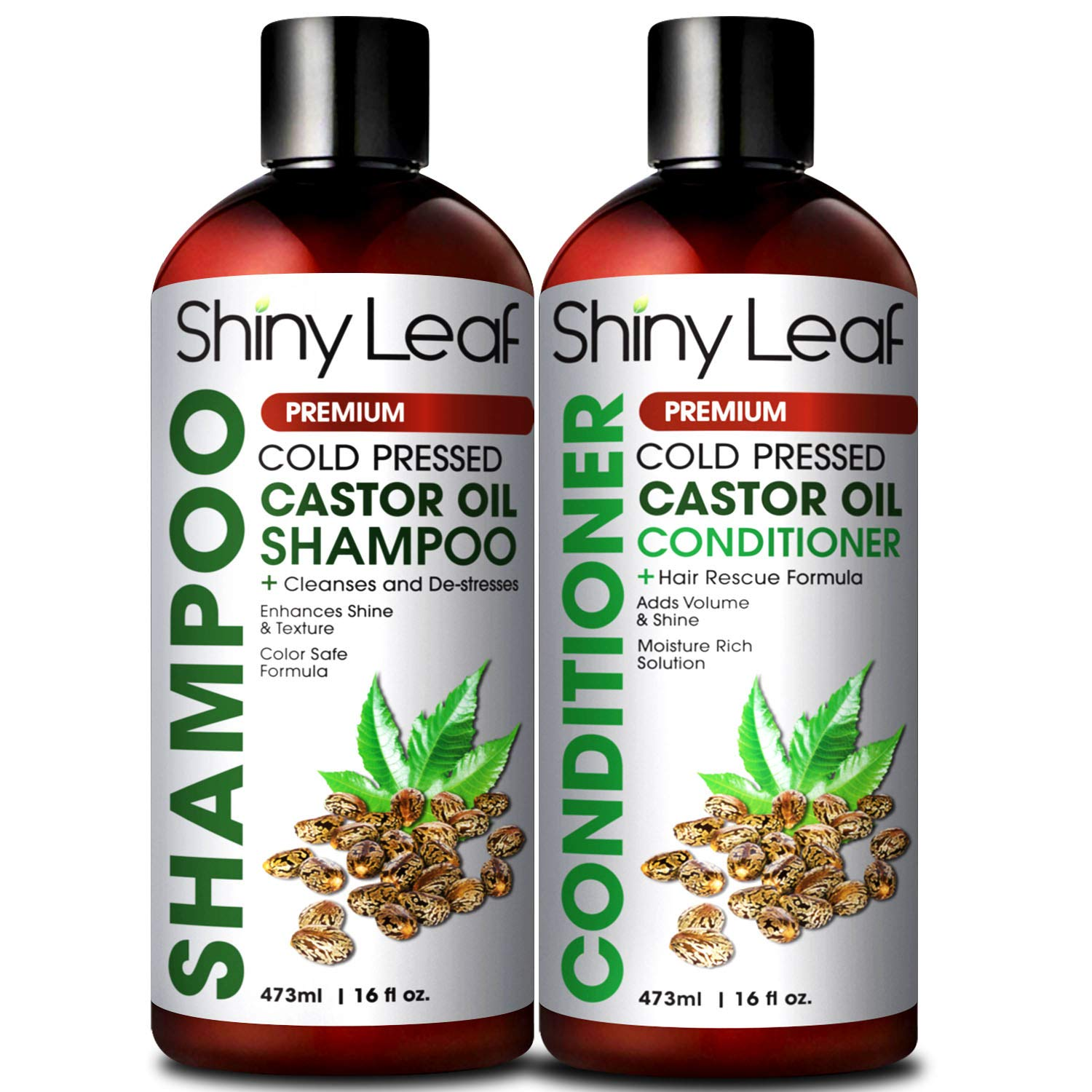 Castor Oil Shampoo and Conditioner For Hair Growth, With Organic Castor Oil, Sulfate Free, Cleanses & Destresses Hair, Safe for Color Treated Hair, Repair Hair Damage 16 Fl. Oz. by Shiny Leaf