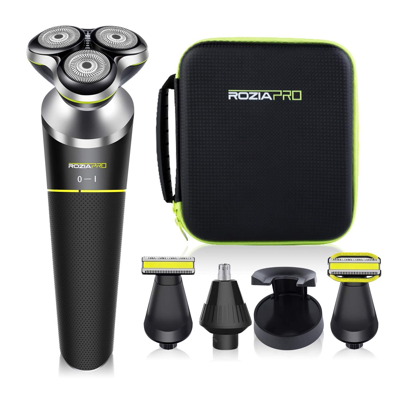 Roziapro Electric Razor for Men - 5 in 1 Rotary Shavers for Men -Mens Electric Razor Grooming Kit - Wet and Dry Razors for Men - Cordless Mens Razors, Waterproof Electric Shavers for Men, USB Charging