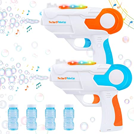 Bubble Guns for Kids with 4 Bottles Bubble Solution,Bubble Maker with Lights and Music,Summer Outdoor Indoor Party Activity,Bubble Blower Toys Gift for 3 4 5 6 7 8 9 10 Year Old Boys Girls Toddler