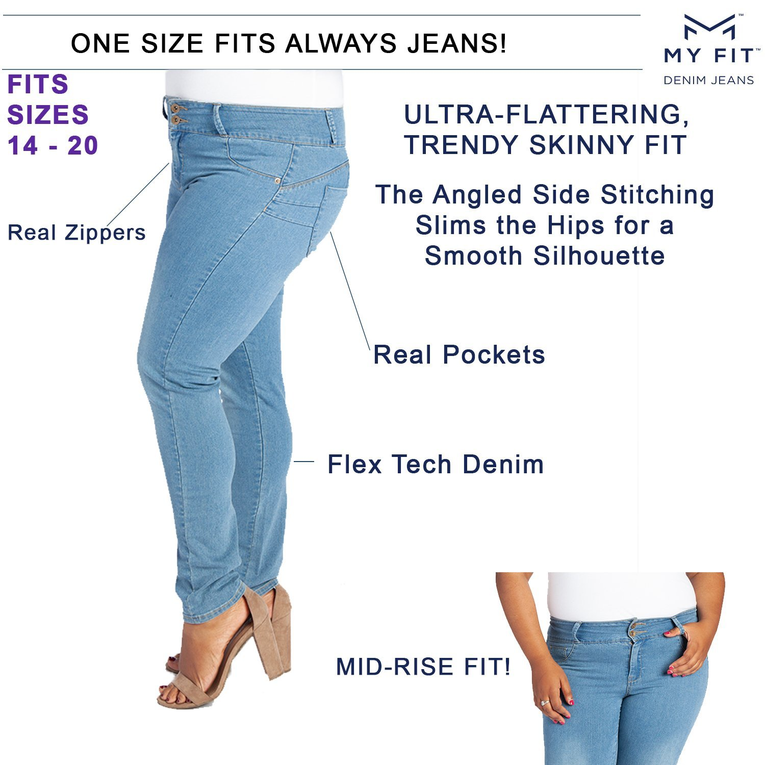 c0de6343b43 Amazon.com  My Fit Jeans- SIZE 14-20 LIGHT WASH  Women s Stretch Denim Jeans  with Pockets and the Comfort of Leggings