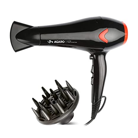 AGARO HD-1150 2200-Watt Professional Hair Dryer with Concentrator, Diffuser & Cool Shot Button (Black)