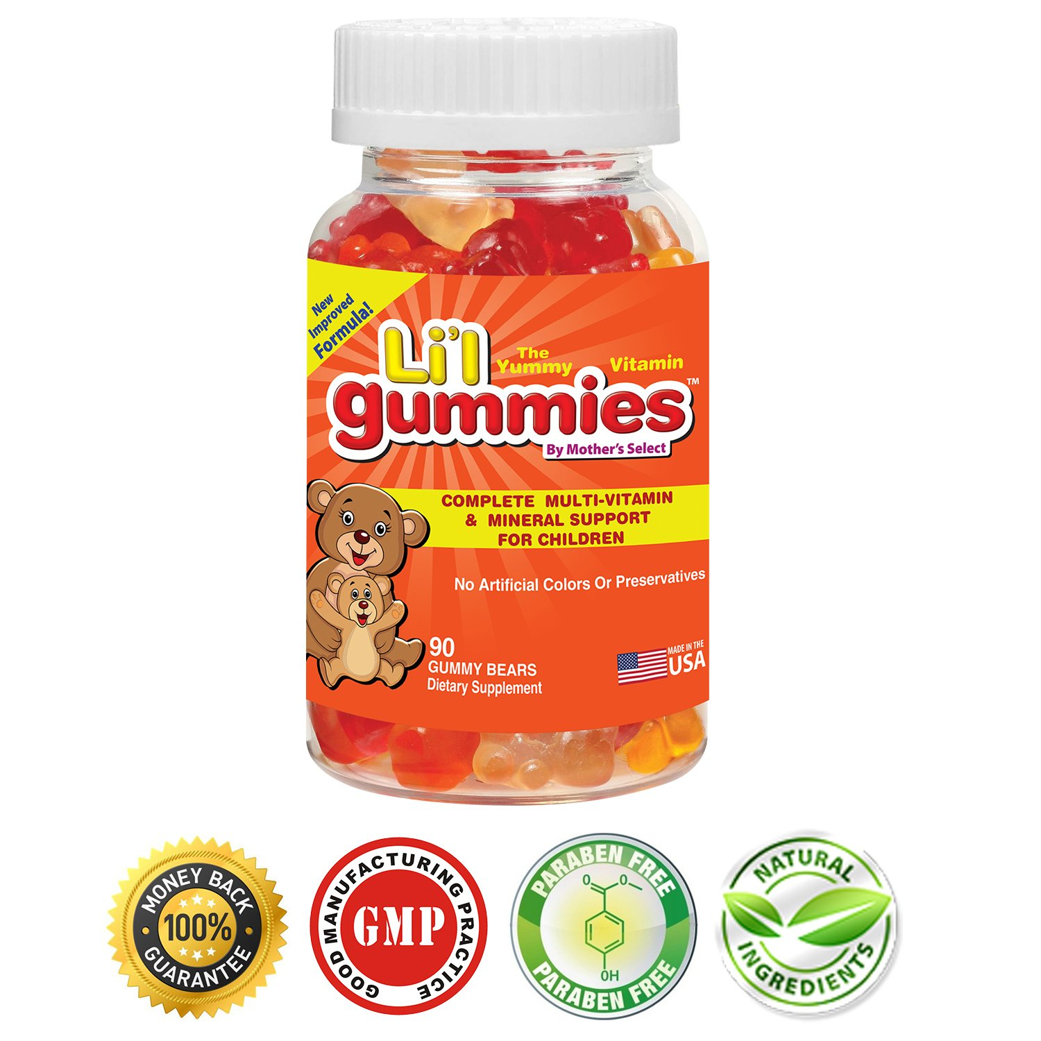 Mother's Select Li'l Gummies - Kids Complete MultiVitamin and Minerals Supplement - Supports Children Nutritional Needs Contain Vitamins A, C, D, E, B & More - Great Tasting Gummy Vitamins!