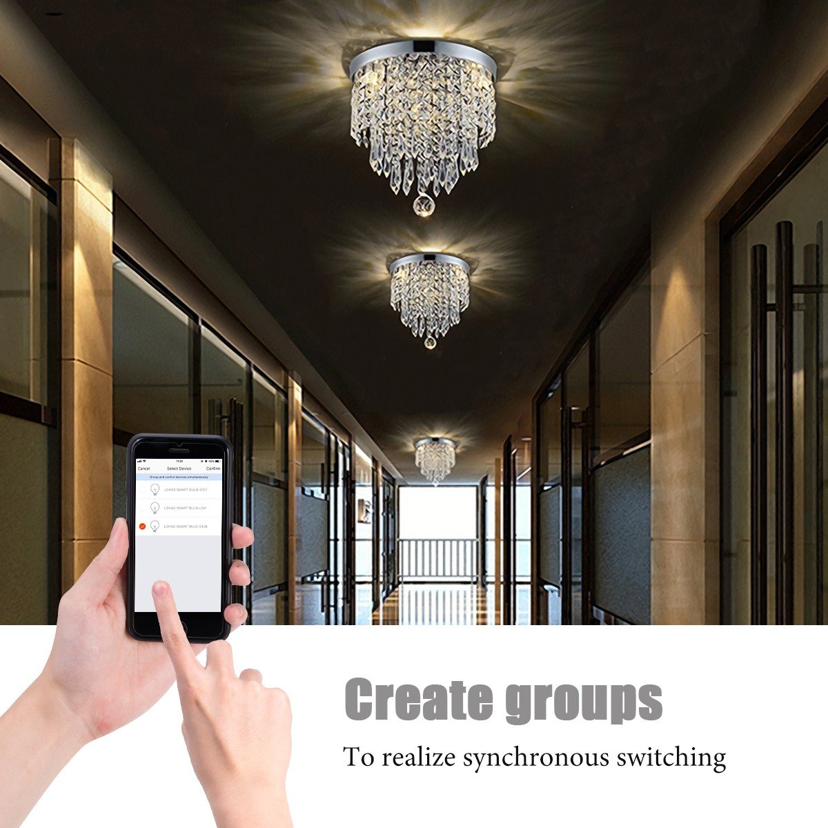 LOHAS Crystal Chandelier Lighting, 100 Watt Equivalent, 15W Multicolor Ceiling Lamp, Smart Wifi Light Bulb, 8.66'' Chandeliers Lighting Fixture, 1380LM Modern Pedant Light, Works with Alexa, 1 Pack