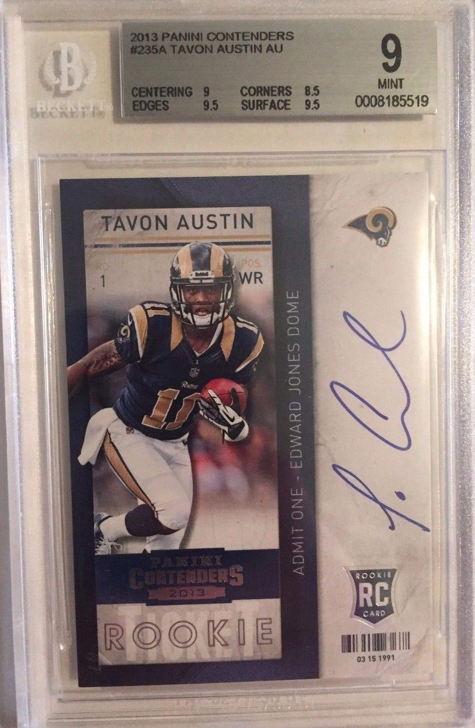 Tavon Austin Autographed Signed 2013 Panini Contenders Rookie Ticket 235A Rc Bgs 9 Mint Certified Authentic