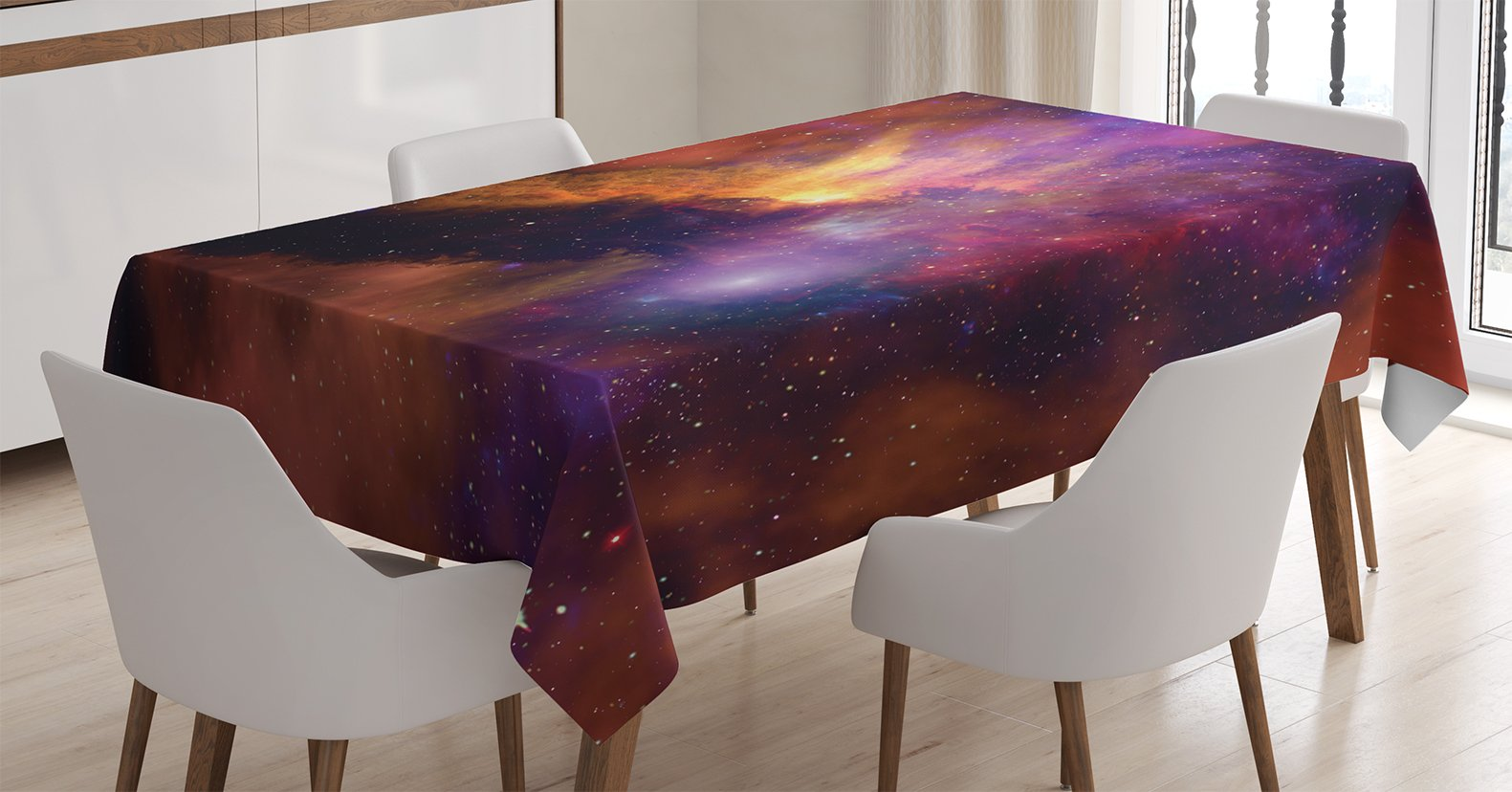 Ambesonne Space Decorations Tablecloth, Space Stars and Nebula Gas and Dust Cloud Celestial Solar Galacy System Print, Rectangular Table Cover for Dining Room Kitchen, 60x84 Inches, Purple Red Orange