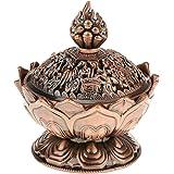 SunnyClover 1PCS Alloy Lotus Incense Burner Smoke Cone Aroma Burner Censer Holder Perfect for Home Decor Red Copper