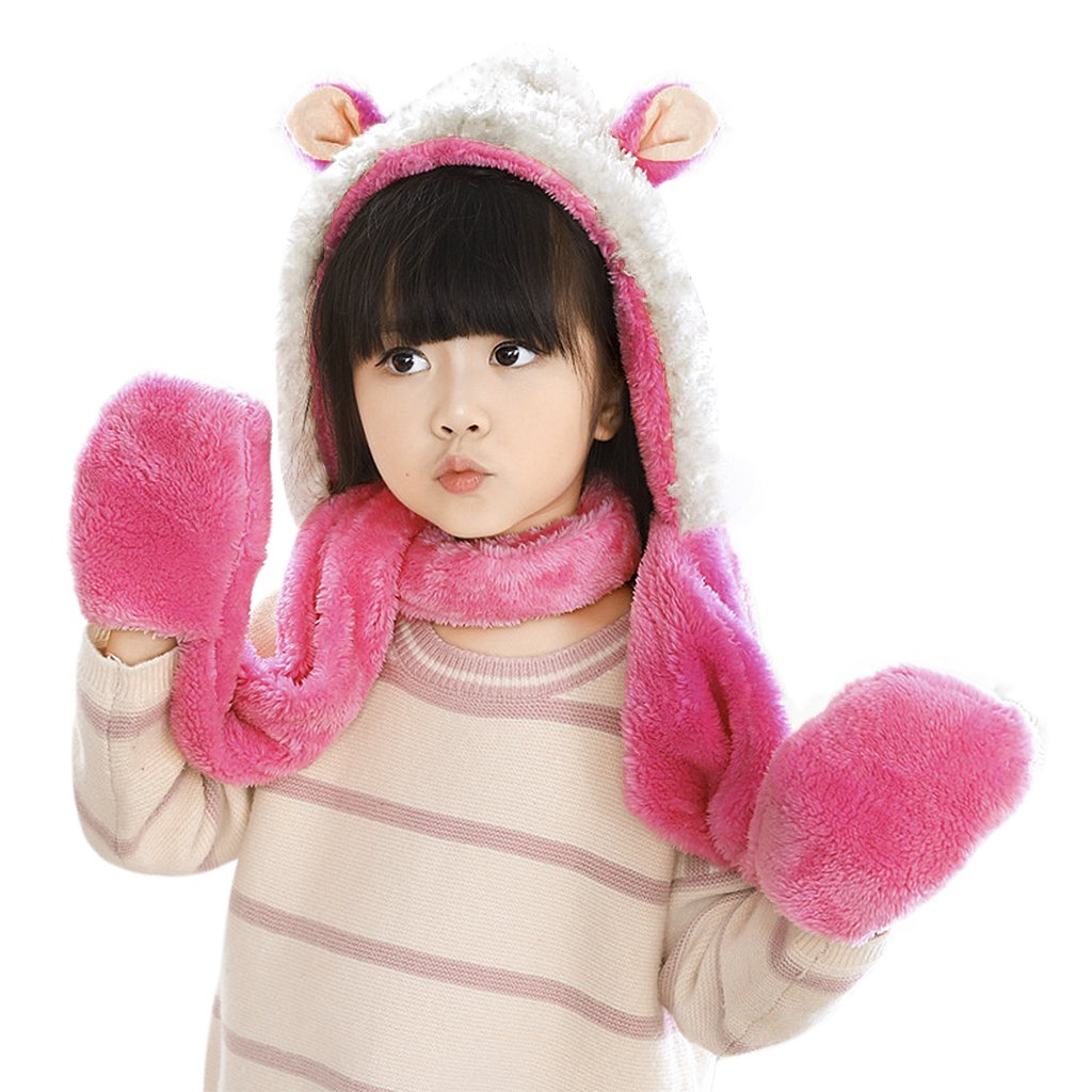 Kids Baby Winter Plush Warm Earflap Hood Beanie Hat Long Scarf Pocket Gloves Set Baixt Group Limited