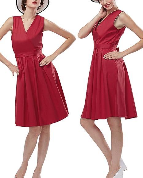ZAFUL Mujer Vintage Vestido de Fiesta Cortos sin Mangas Cuello V con Cinturón Rockabilly Rojo Tallas Grande 4XL: Amazon.es: Ropa y accesorios