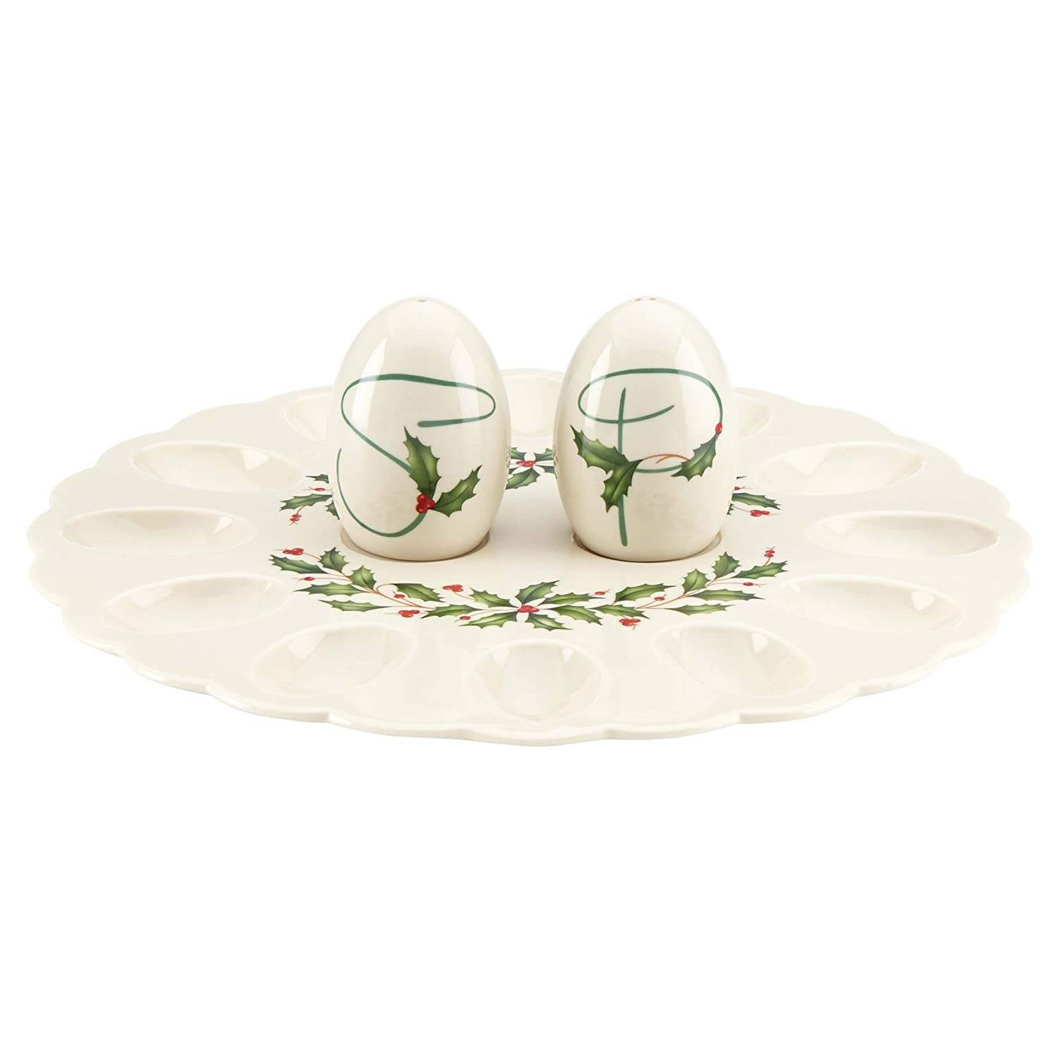 Christmas Holly Egg Platters