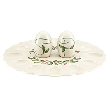 Lenox Holiday Egg Platter with Salt and Pepper