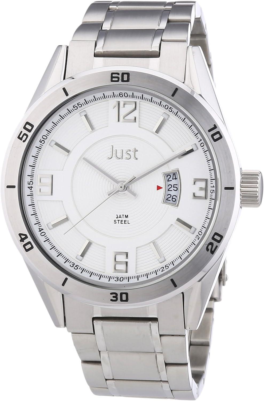 Just Watches 48-S9279S-SL - Reloj analógico de cuarzo para hombre, correa de acero inoxidable color plateado