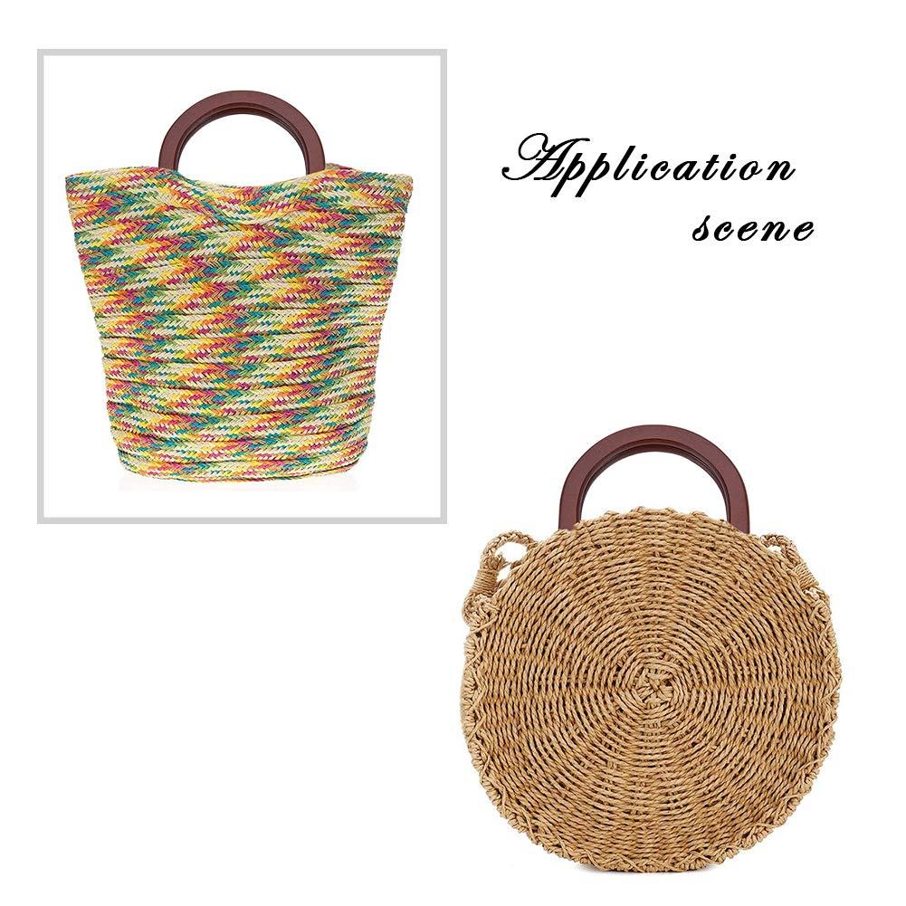 PandaHall Elite 4pcs Wooden Bag Handle Replacement D Shape Handbag Purse Handle for Handmade Beach Bag Handbags Straw Bag Purse Handles