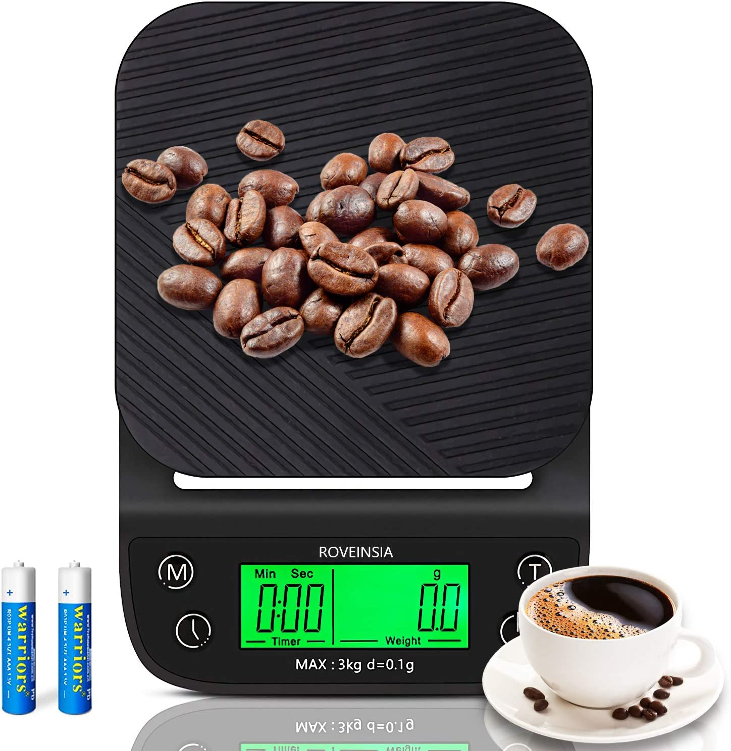 Roveinsia Food Scale, Coffee Scale with Timer, 3000g/0.1g Digital Kitchen Scale Precision Weight Grams and Oz for Coffee Brewing, Cooking, Baking, High Accuracy with Back-Lit LCD (Battery Included)