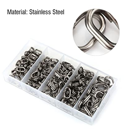 Box 200Pc Fishing Solid Stainless Steel Snap Split Ring Lure Tackle Connector Fishing Swivels & Snaps Fishing Terminal Tackle
