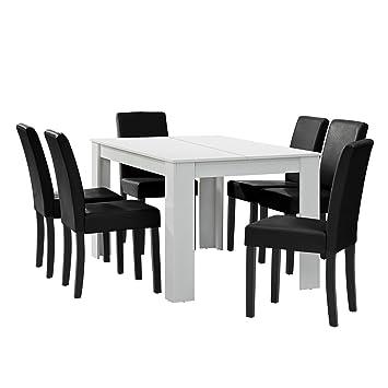 [en.CASA] Table à Manger Blanc Mat avec 6 chaises Noir Cuir synthétique  rembourré 140x90