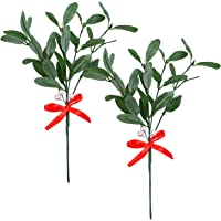 Aneco 2 Pack Christmas Artificial Mistletoe Floral Pick Mistletoe Ornament with Red Bow Christmas Hanging Ornament