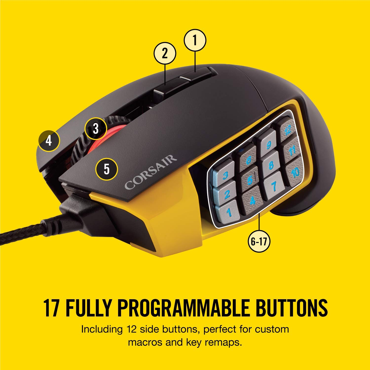 Corsair Scimitar PRO RGB Optical MMO Gaming Mouse (16000 DPI Optical  Sensor, 12 Programmable Side Buttons, 4-Zone RGB Multi-Colour Backlighting,