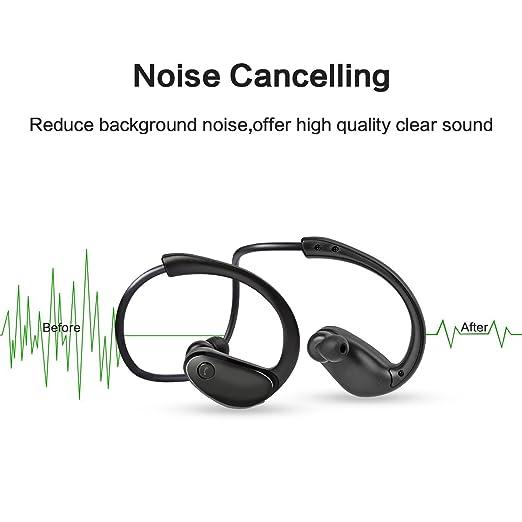 Lanau deportes inalámbrica Bluetooth auriculares auriculares estéreo cancelación de ruido de sonido HD para Apple Iphone, Sony, LG, Samsung Galaxy (negro): ...