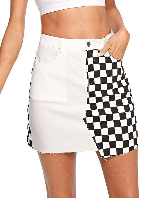 WDIRA Women's Elegant Mid Waist Above Knee O-Ring Zipper Front Plaid Skirt Black M
