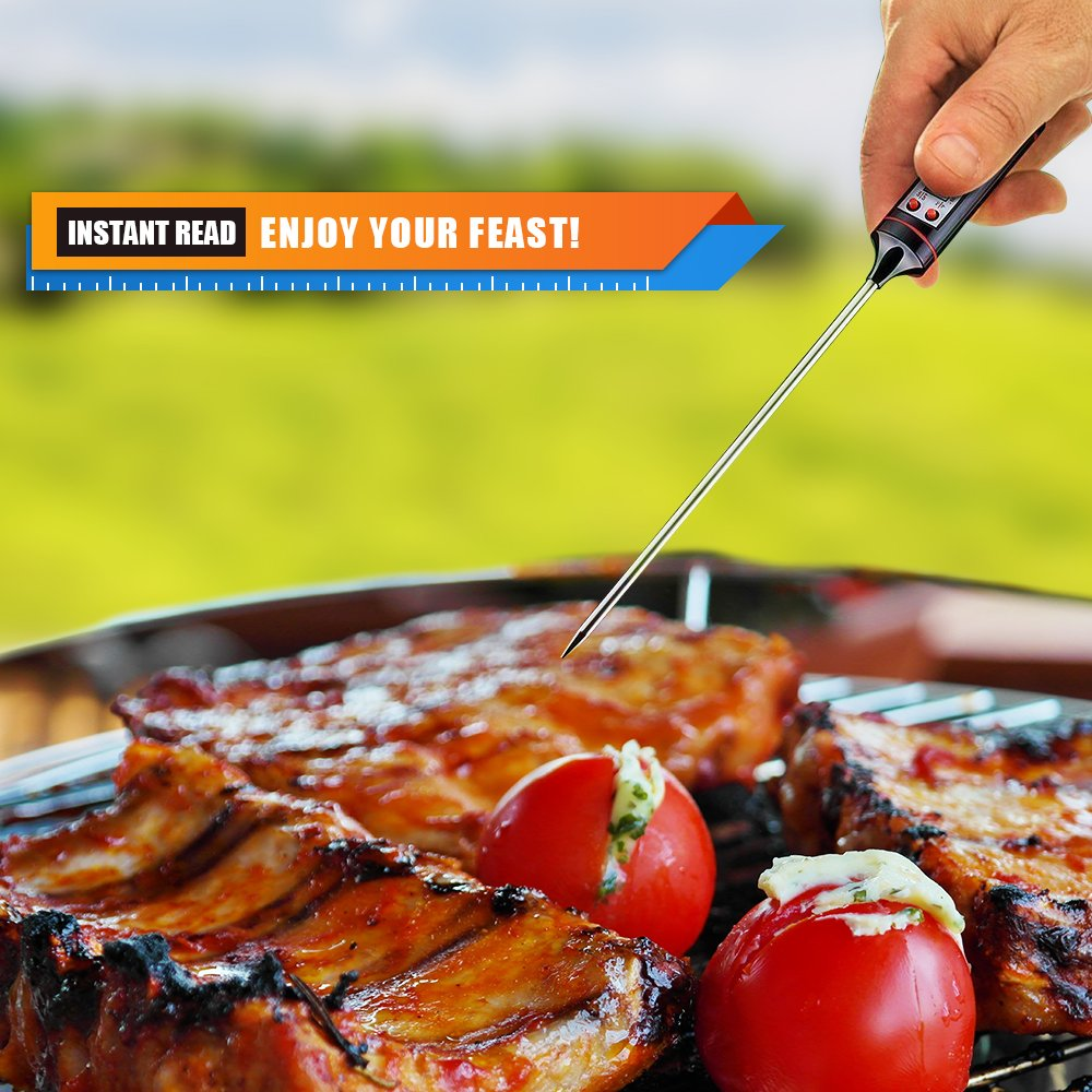 TAFOND Instant Read Digital Cooking Meat Thermometer for Food, Meat, Candy and Bath Water with Long Probe, LCD Screen, Anti-Corrosion,Black