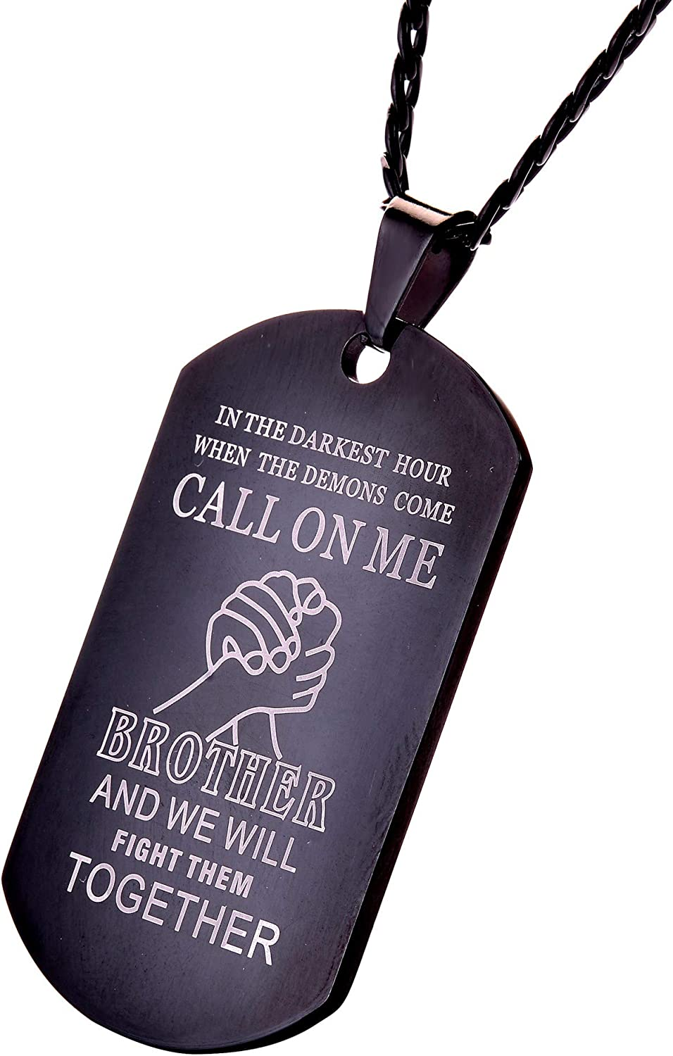 CALIS Stainless Steel Dog Tags Necklace for Men,We Will Fight Them Together