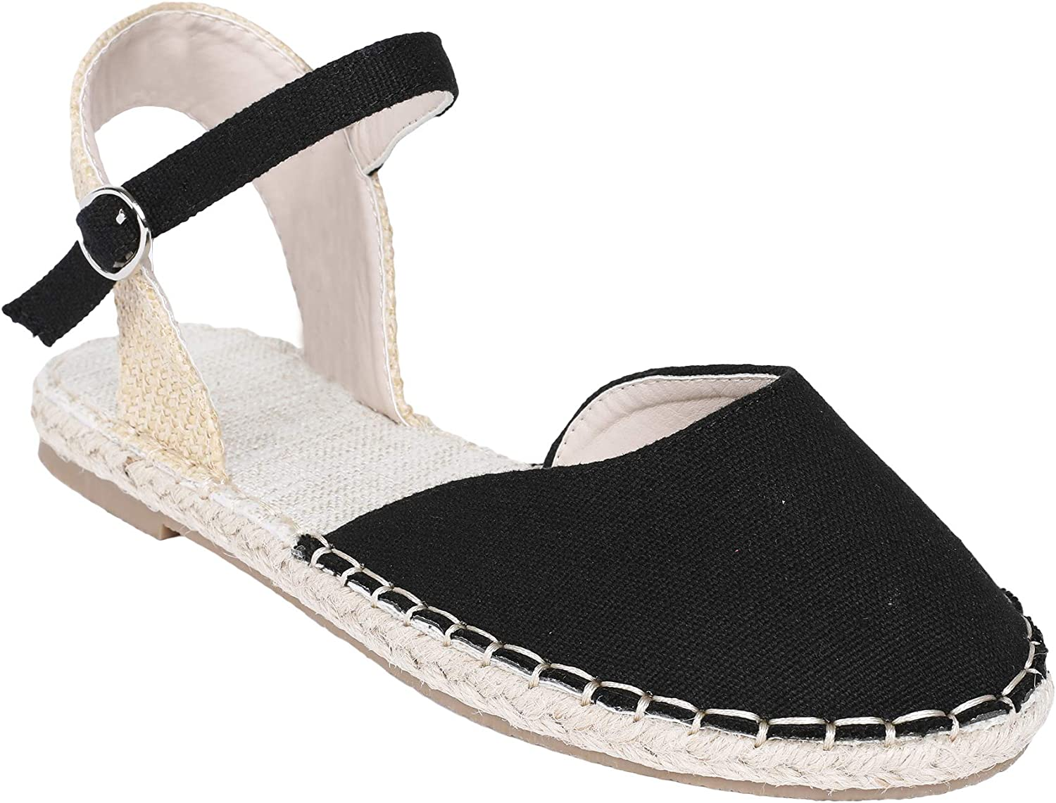 Ermonn Womens Espadrille Flat Sandals Closed Toe Ankle Strap Buckle D'Orsay Flat Shoes Black