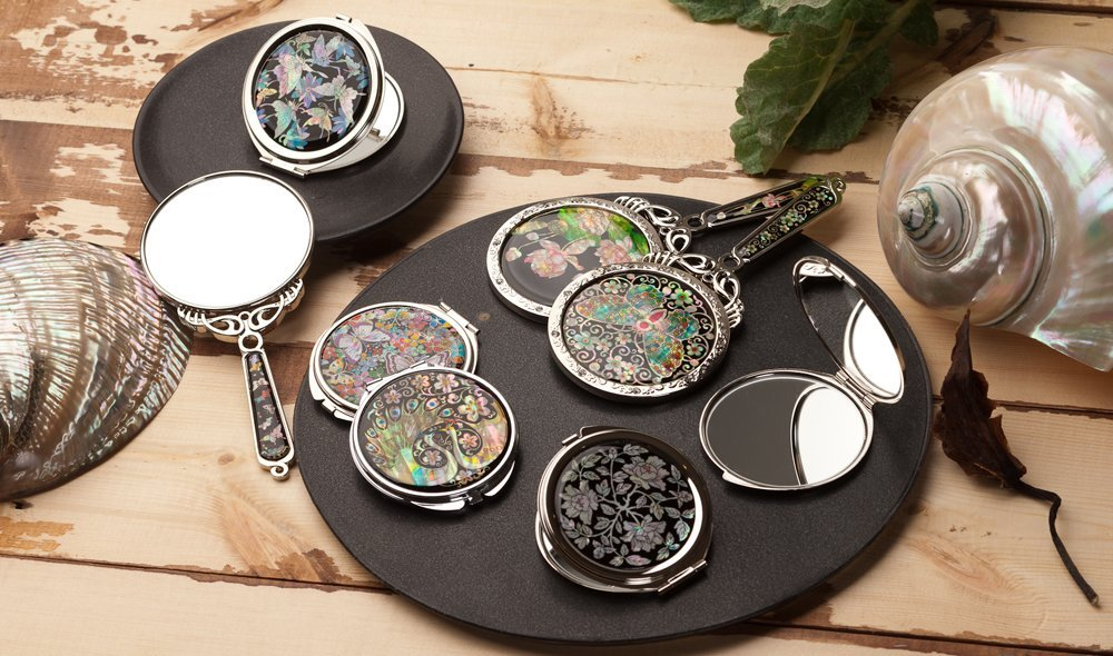 Mother of Pearl Korean Traditional Window Design Lattice Pattern Push Button Round Magnifying Double Compact Handbag Purse Makeup Cosmetic Pocket Hand Mirror