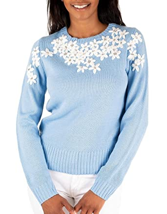 Knitted Light Blue Sweater En Creme At Amazon Womens Clothing Store