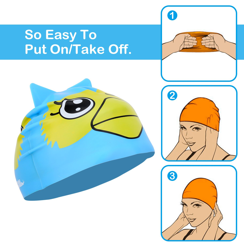 HeySplash Swimming Cap for Kids Lovely Cute Cartoon Style Swim Hat High Elastic Silicone Waterproof Swim Cap for Children Boys Girls