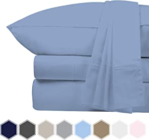 Bluemoon Homes Luxurious 1000 Thread Count Italian Finish 100% Egyptian Cotton 4-Piece Bed Sheet Set, Fits Mattress Up to 18 inches Deep Pocket, Solid Pattern (Color - Sky Blue, Size - King).