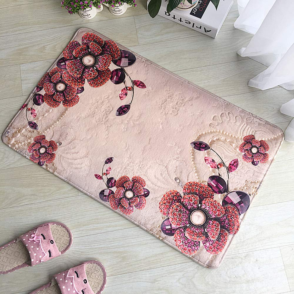 PLLP 3D Flannel Printed Carpet, Floor Mat Bathroom Absorbent Mat, Bedroom Mat, Bathroom Kitchen Rug, Floor Mat,C,4060CM