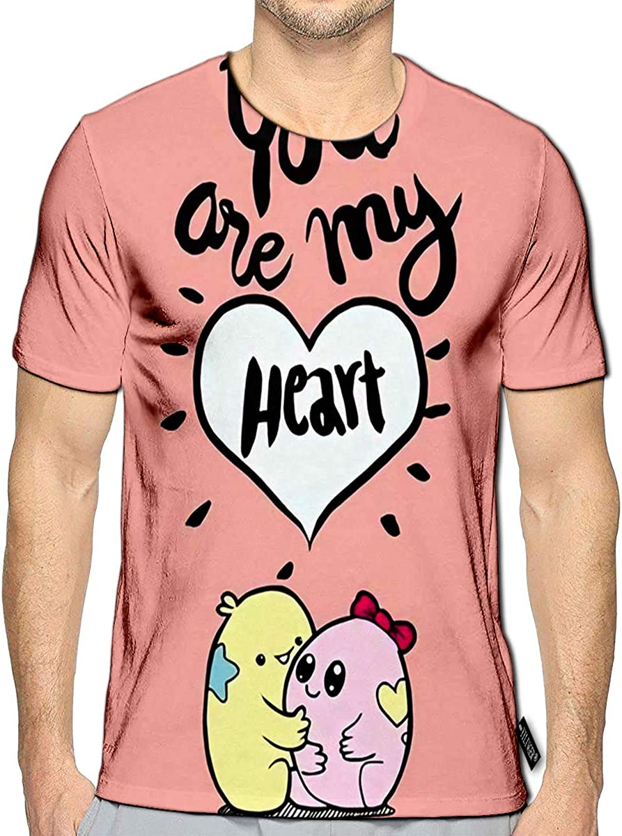 3D Printed T-Shirts Calligraphic You are My Heart Inscription Poster Romantic Quote Vintage Short Sleeve Tops Tees