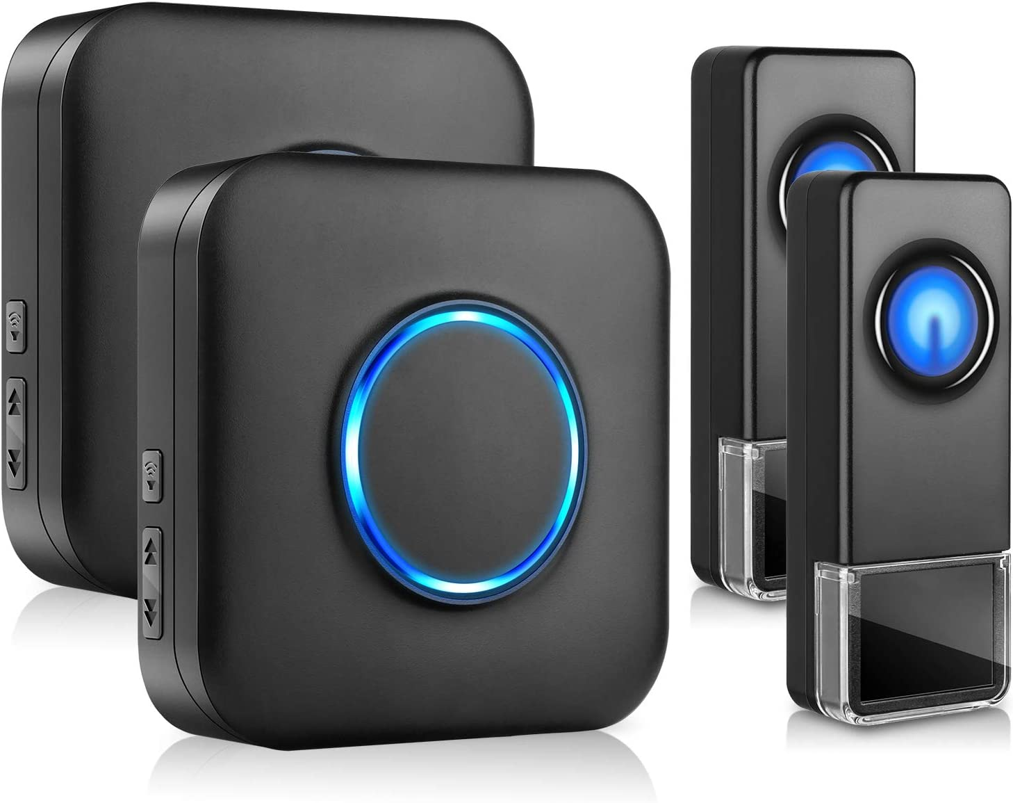 BITIWEND Wireless Doorbell, BITIWEND Waterproof Door Bells & Chimes Wireless Kit–1000-Foot Range, 58 Door Bell Chime, 5 Volume Levels with LED Flash for Home–2 Push Buttons & 2 Receivers (Black)
