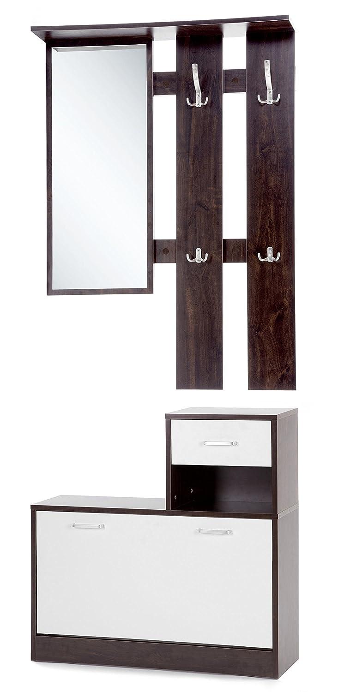 ts-ideen Set di 3 pezzi Guardaroba da parete Specchio Scarpiera Mobile per le scarpe con cassetti e scaffale con effetto legno di noce in marrone scuro e porte bianche