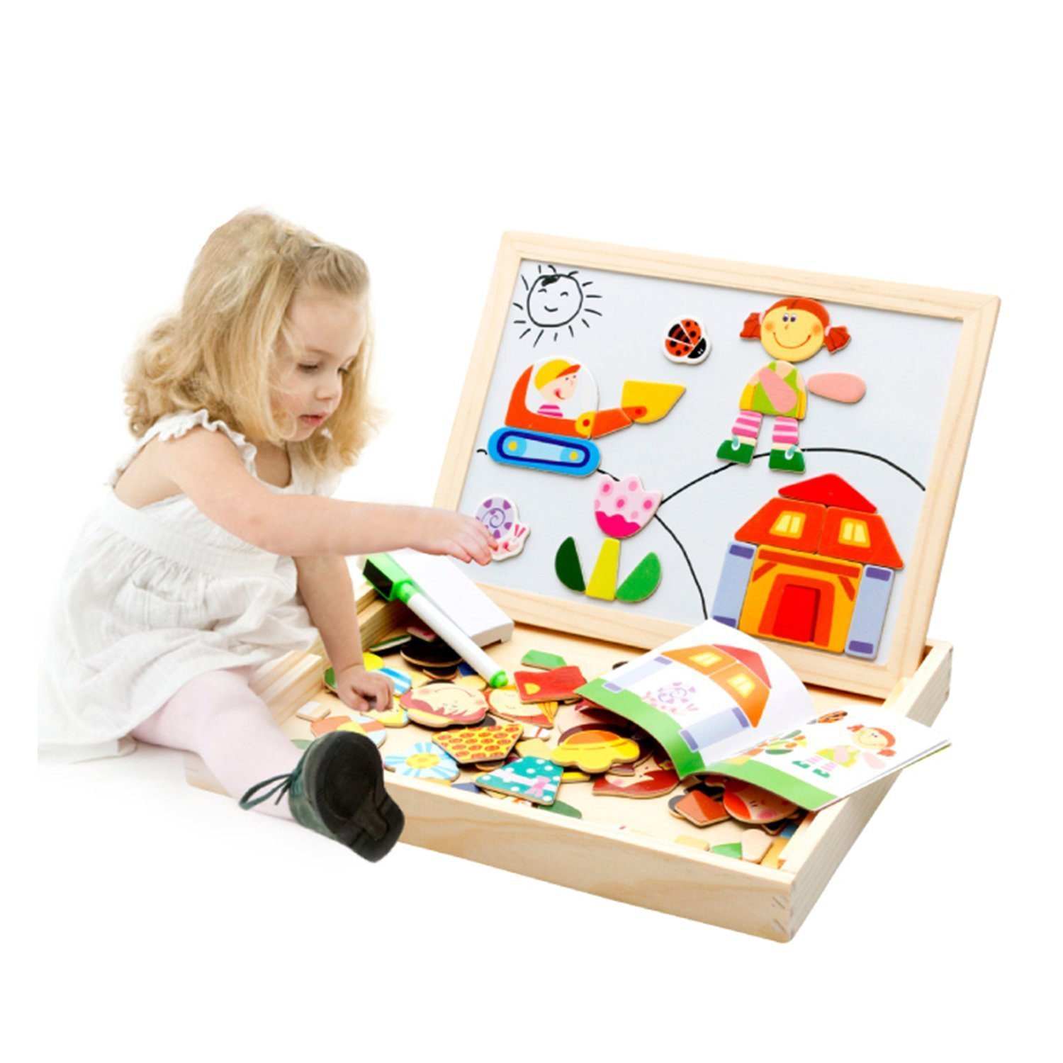 Students With Special Needs Face Double >> Hop Link Double Face Magnetic Drawing Chalk Board Wooden