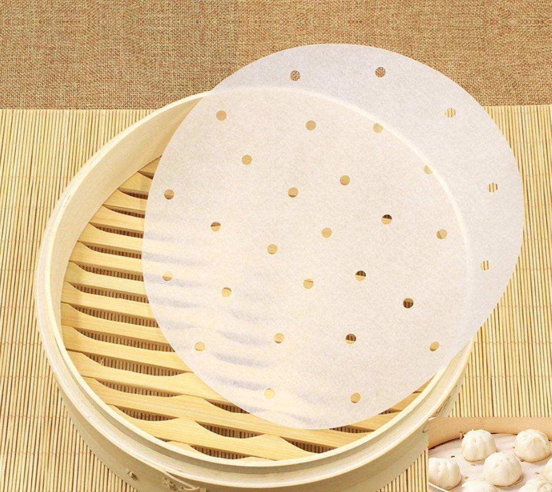 uctop Store 9 Inch Premium vaporera de bambú Liners perforado redondo pergamino ecológico para aire freidora cesta para cocción al vapor cocinar verduras ...