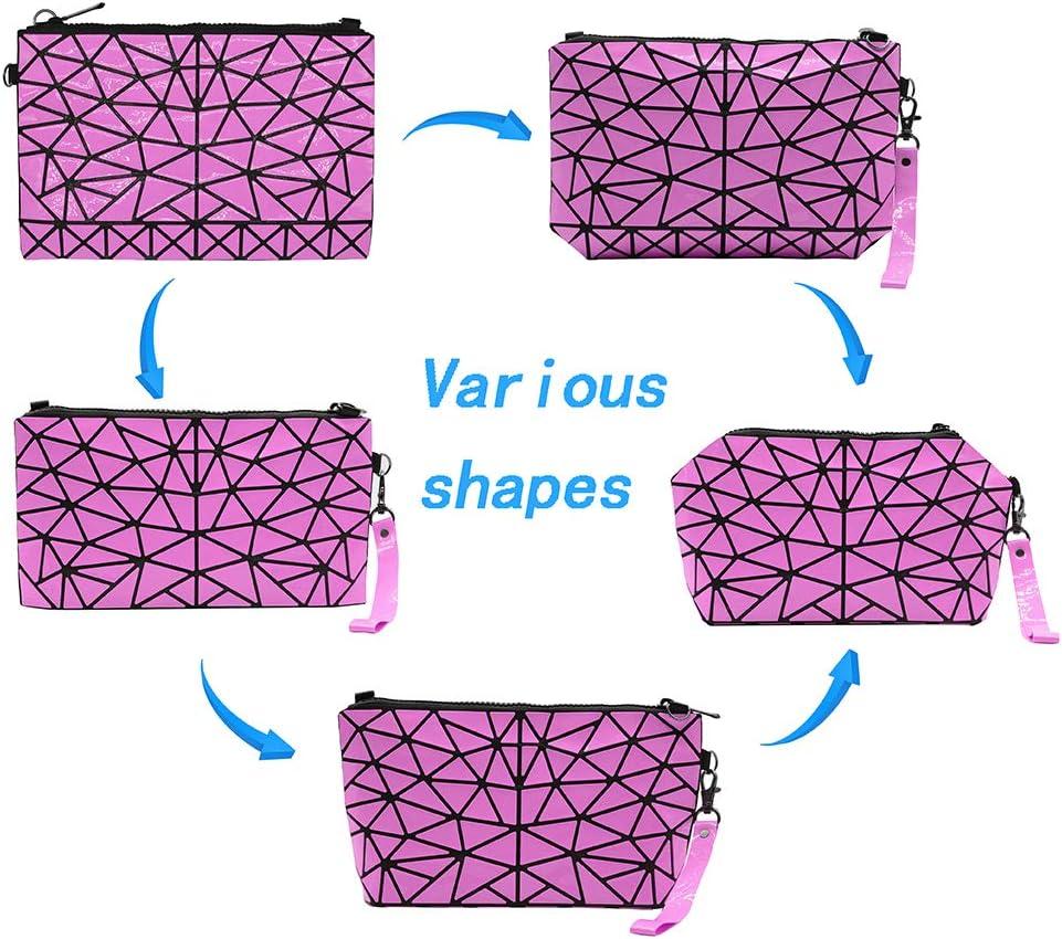 pochettes de stockage doutils de maquillage de treillis Shard organisateur de sac /à main en cuir PU de mode cas cosm/étiques g/éom/étriques Les filles des femmes composent le sac