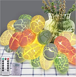 Easter Eggs String Lights Decorations, Battery Operated LED Easter Lights for Easter Tree Home Window Indoor Outdoor Décor, Easter Decoration Ornaments Lights with Remote Control (10ft with 20 LEDs)