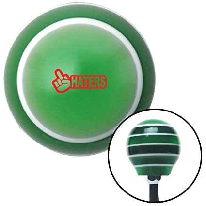 Red Haters Green Stripe with M16 x 1.5 Insert American Shifter 275831 Shift Knob