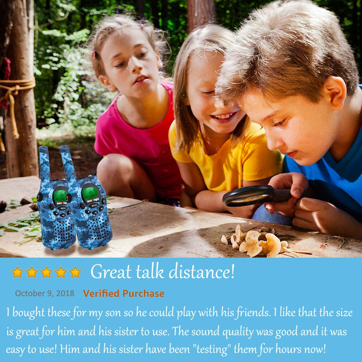 Walkie Talkies for kids, Kids Walkie Talkies for Girls and Boys , Vox Hands Free 4 Miles Long Range Walkie Talkie Set with Cystal Sound and LED Flashlight, Best Kids Toys Gifts for Christmas Birthday by WES TAYIN (Image #2)