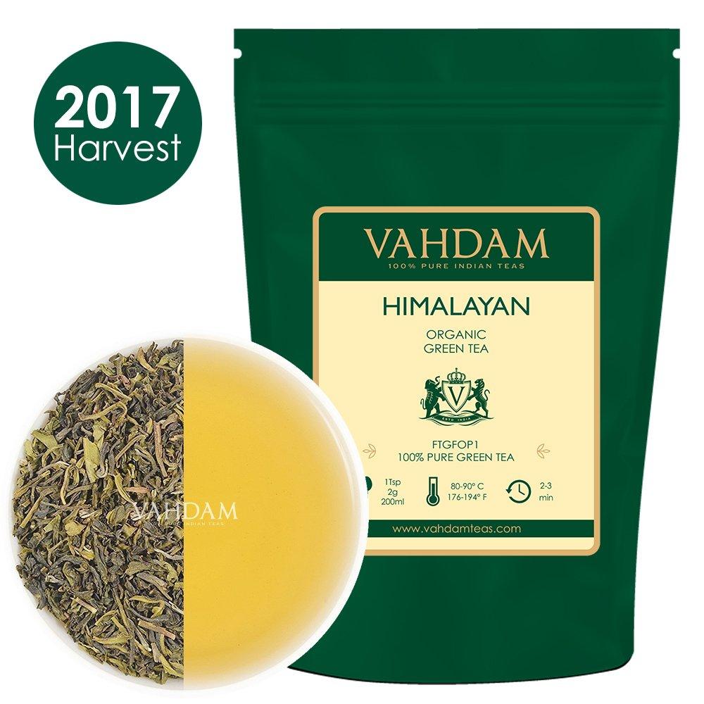 Organic Green Tea Leaves from Himalayas (50 Cups), 100% Natural Detox Tea, Weight Loss Tea, Cleansing Tea & Slimming Tea, Powerful Anti-Oxidants, 2017 Fresh Harvest, Green Tea Loose Leaf, 3.53oz