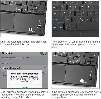 1byone Teclado Bluetooth ultrafino con almohadilla multitáctil integrada y batería para Android y Windows Negro