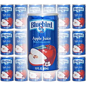 Bluebird Apple Juice, From Concentrate, 5.5oz Mini Can (Pack of 18, Total of 99 Fl Oz)