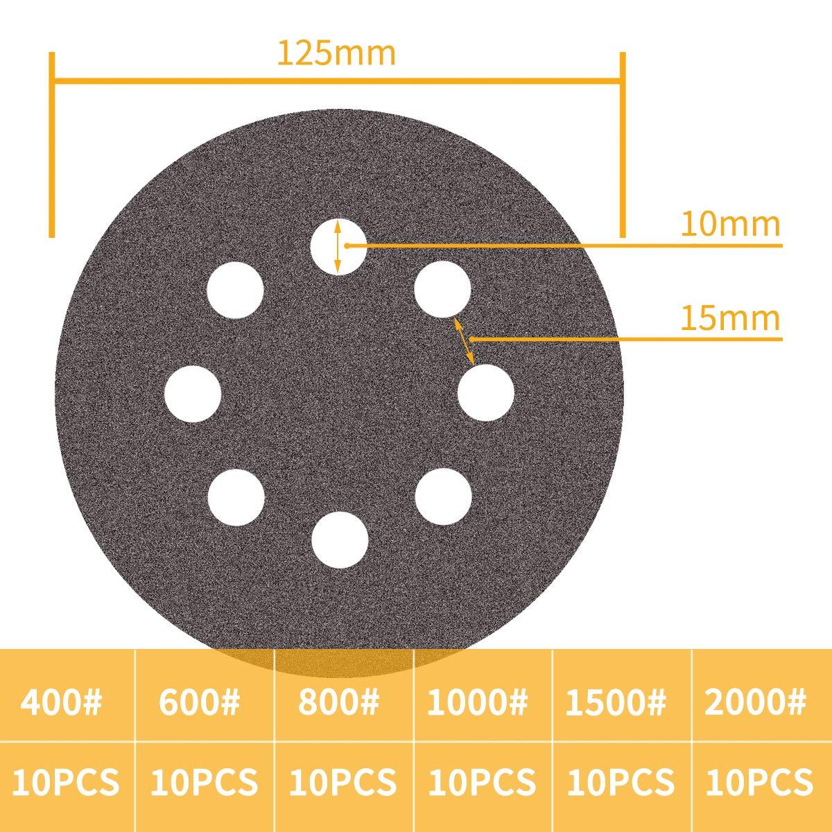 Disques de pon/çage 60PCS 125mm en Carbure de Silicium Disques Abrasifs 400 600 800 1000 1500 2000 grains 8 trous pour Ponceuse Excentrique
