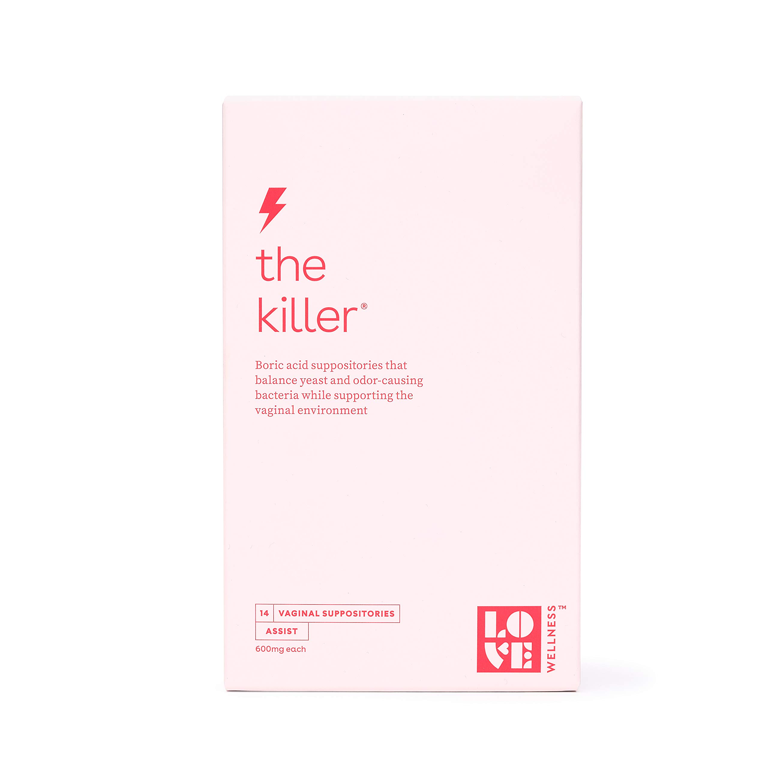 Love Wellness The Killer - Boric Acid Suppositories - Balance Yeast and Odor-Causing Bacteria, and Support the Vaginal Environment - Supports a healthy Vaginal pH Balance - 14 Boric Acid Suppositories