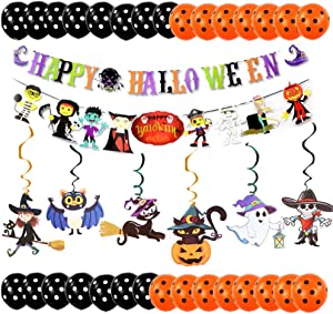 38 Pieces Halloween Party Decorations Halloween Theme Party Supplies Banner Kit Halloween Paper Garlands with Ghost Hanging Banner Halloween Swirl Hanging Decorations Halloween Balloons for Halloween Party Bar Home Decor Supplies