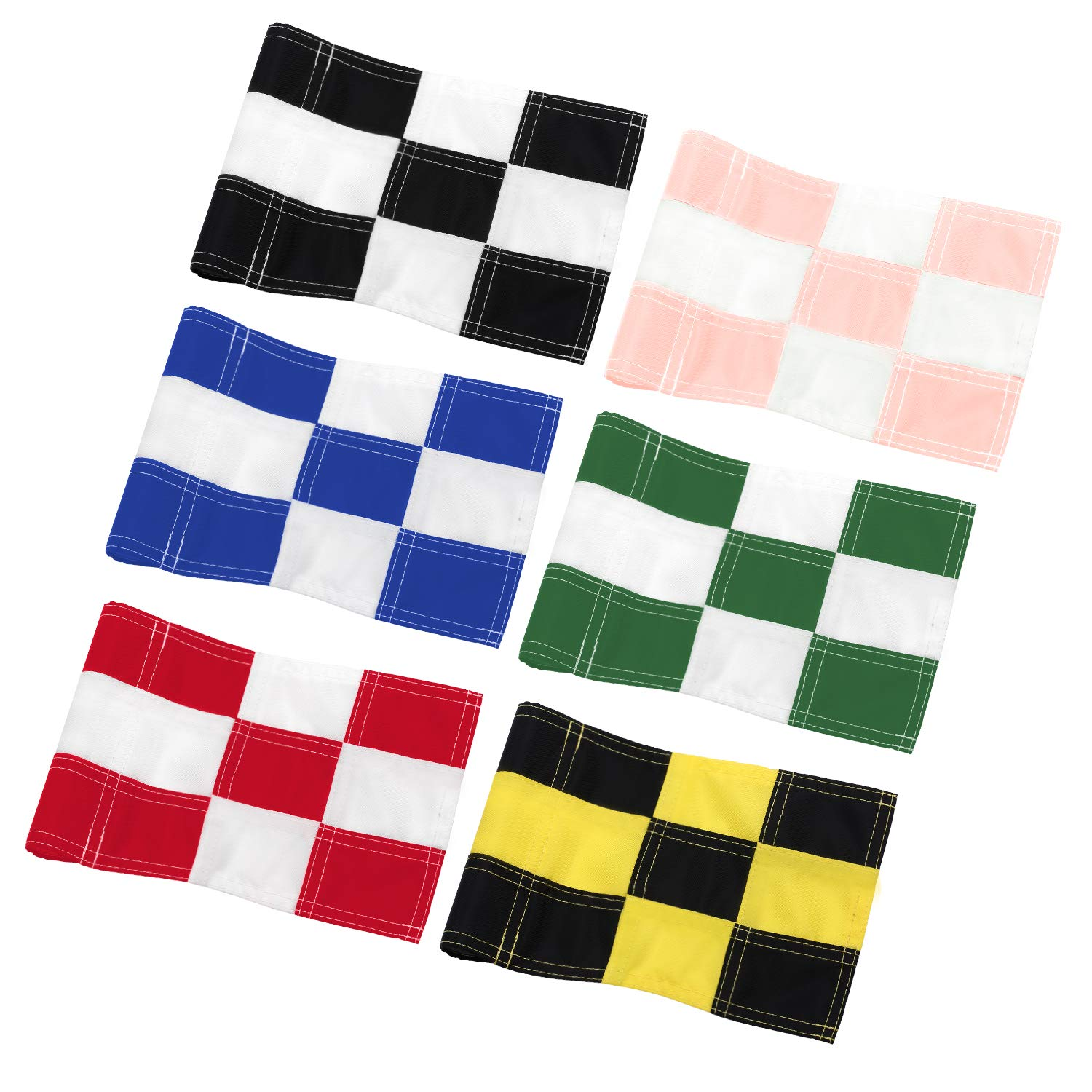 KINGTOP Checkered Golf Flag with Plastic Insert, Putting Green Flags for Yard, Indoor/Outdoor, Garden Pin Flags, 420D Premium Nylon Flag, 8'' L x 6'' H, 6-Pack by KINGTOP