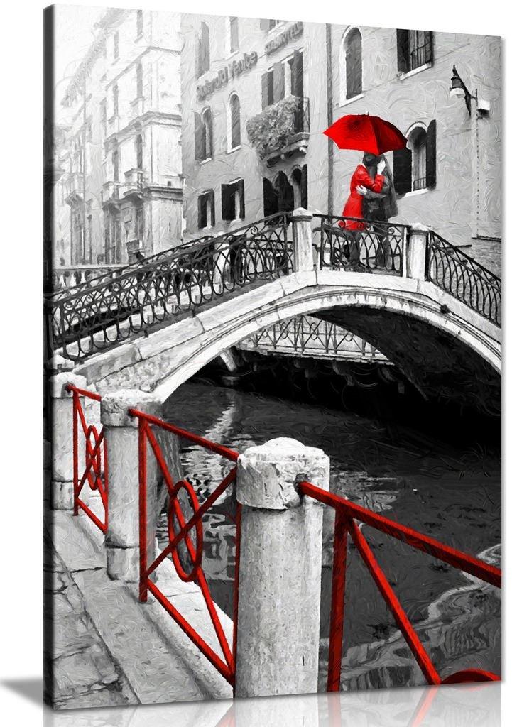 Venedig rot-schwarz-weiß Bild Romantisches Canvas Wall Art Print Bild, schwarz rot weiß, A0 91x61cm (36x24in)