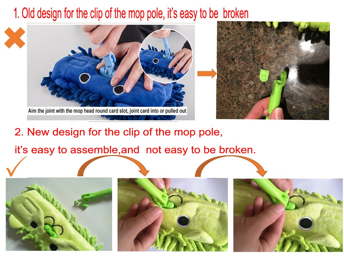 Xifan Mini Housekeeping Cleaning Tools for Children,3pcs Include Mop,Broom,Dustpan (Green Mop+Frash Blue Broom&Dustpan)